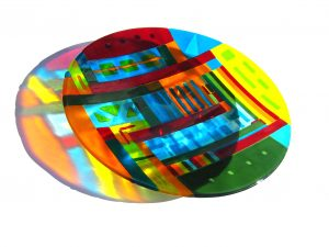 2005-069 huge shallow fused multicolour platter - sold at SEOS 2007
